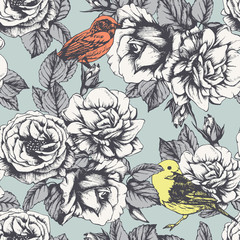 Seamless floral pattern with hand-drawn roses and birds. Vector