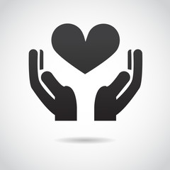Hands with heart VECTOR icon.