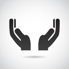Hands in prayer vector icon.