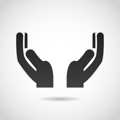 Hands in prayer vector icon.