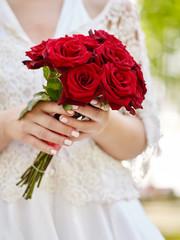 Bride with rose bouquet