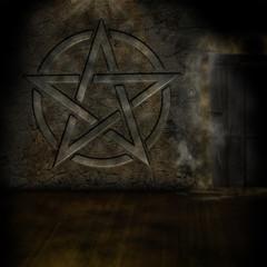 Pentagramm Tür Mauer Parkett