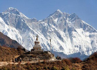 Wall Murals Nepal Stupa near Namche Bazar and Mount Everest, Lhotse