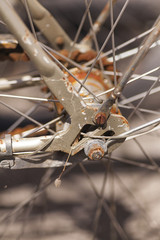Detail of a rusty old bike