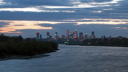 View of Warsaw by night from the river