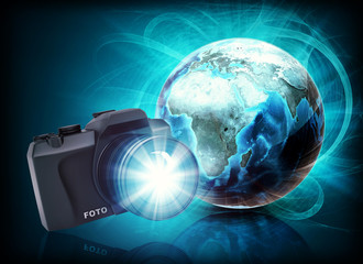 Earth and camera in haze on abstract background