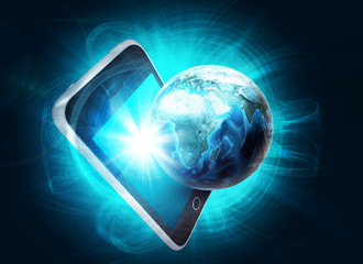 Glowing Earth and mobile on abstract background
