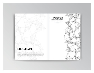 White template of brochure with abstract elements