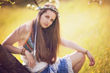 Beautiful bohemian woman portrait