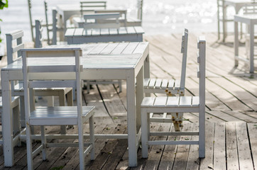 Wood dock White chair and table