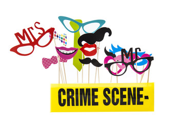 Photo Booth Props on a White Background with Crime Scene Tape
