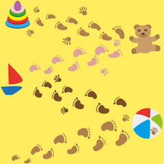 baby footprints and toys