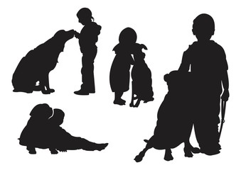 Children and Their Dog - Silhouette