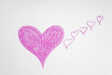 Herzen, Kreide, handgemalt