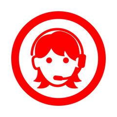 Icono redondo teleoperadora rojo