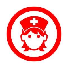 Icono redondo enfermera rojo