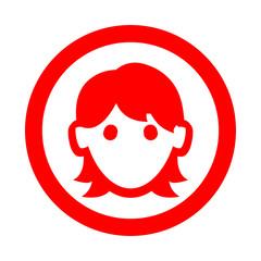 Icono redondo mujer rojo