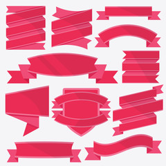 Red badges and labels templates set