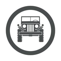 Icono redondo todoterreno militar gris
