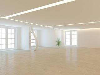 white empty interior concept