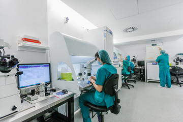 Biologist Working in a Professional IVF Laboratory