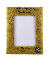 Photo frame made of elephant shit