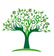 Vector ecological green tree hands logo