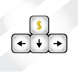 Vector of Keyboard Arrows with Dollar sign