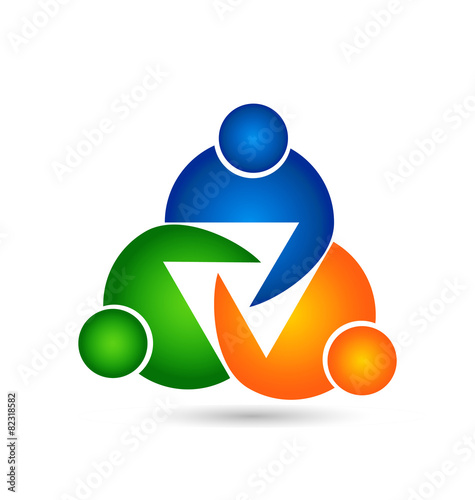 Teamwork Unity Symbol People Logo Stock Image And Royalty Free