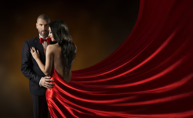Couple Beauty Portrait, Man in Suit Woman in Red Rich Dress