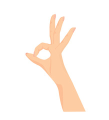 Vector of beautiful Woman's hand making OK sign