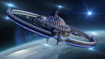 Near Earth spaceship with gravitation wheel