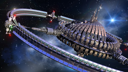Interstellar spaceship with dome core and gravitation wheel