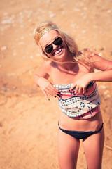 Pretty young hippie caucasian girl