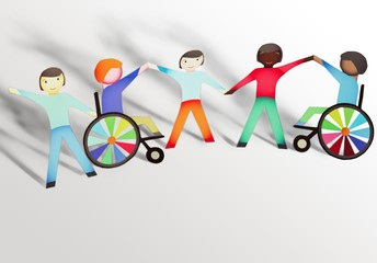 Disabled. Family concept with wheelchair- paper dolls