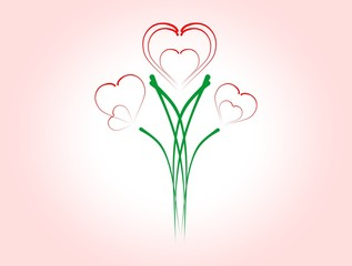Hearts of flowers on a pink background