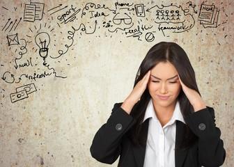Ache. Businesswoman with headache