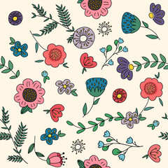 Seamless pattern with flowers, vector illustration.