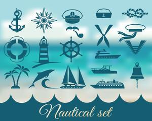 nautical marine icons set