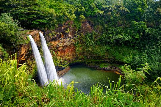 Majestic twin Wailua waterfalls on Kauai