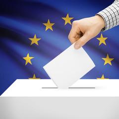 Ballot box with national flag on background - EU
