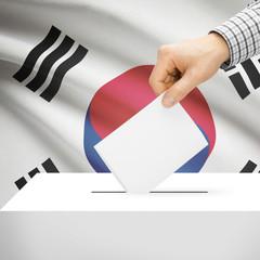 Ballot box with national flag on background - South Korea