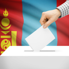 Ballot box with national flag on background - Mongolia