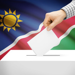 Ballot box with national flag on background - Namibia