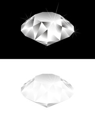 Diamond on black and white