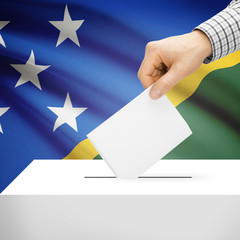 Ballot box with national flag on background - Solomon Islands