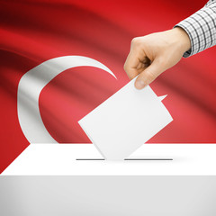 Ballot box with national flag on background - Turkey
