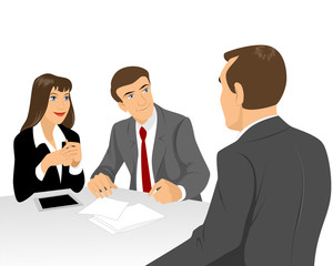 Businessmen at negotiating table