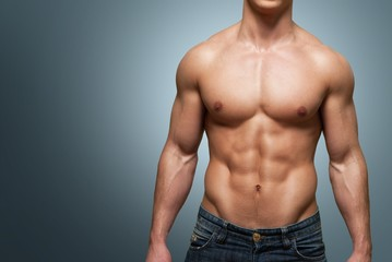 Men. Muscular male torso