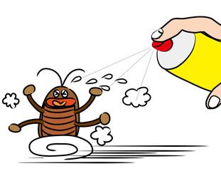 Illustration of cartoon cockroach running away from spray